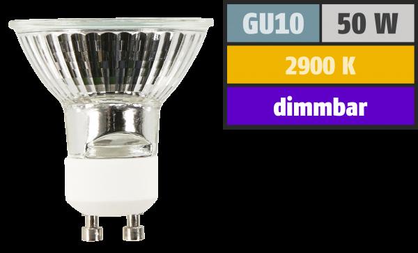 Halogen-Spiegellampe McShine, GU10, 230V/50W, 36°, Frontglas