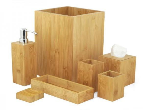 MK Bamboo LONDON - Bambus Bad Accessoire Set (7-teilig)