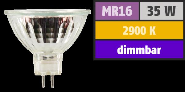 Halogen-Spiegellampe McShine, MR16, 50mm Ø, 12V/35W, 36° Flood, Frontglas