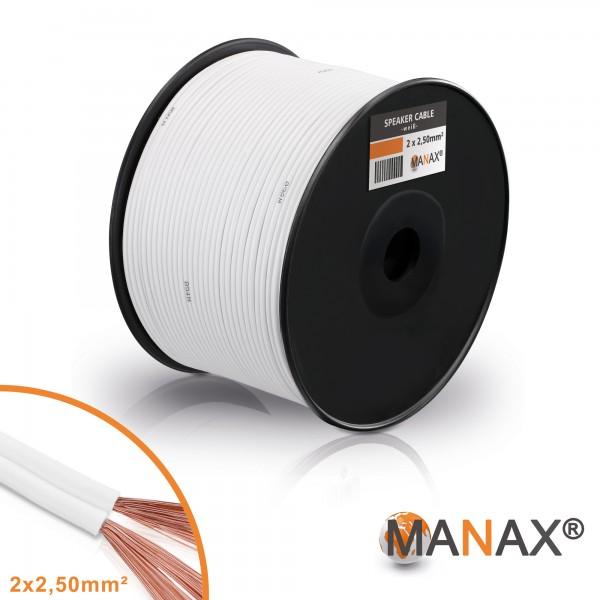100m 2x2,5mm² Lautsprecherkabel weiß Audio Kabel Boxenkabel 100% CCA