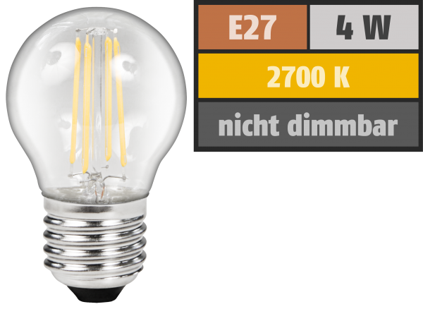 LED Filament Tropfenlampe McShine ''Filed'', E27, 4W, 470lm, warmweiß, klar