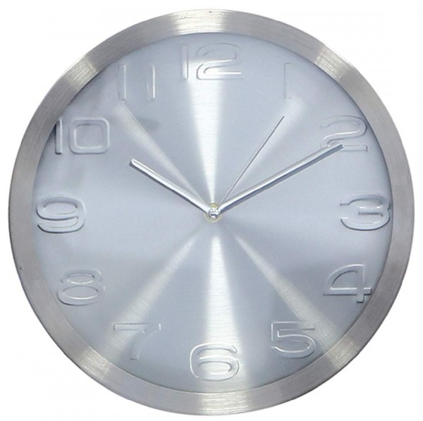 Uhr Brushed Alu gebürstet, silber Durchm. 30 cm