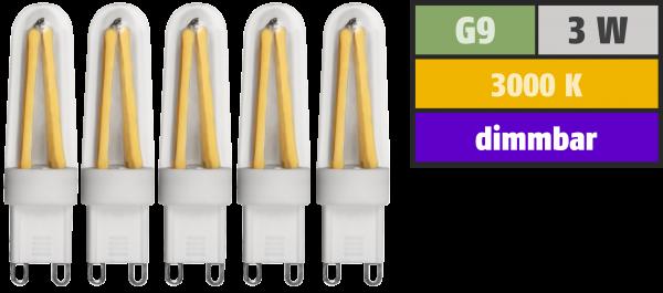 LED-Stiftsockellampe McShine ''Silicia'', G9, 3W, 300lm, warmweiß, 5er-Pack