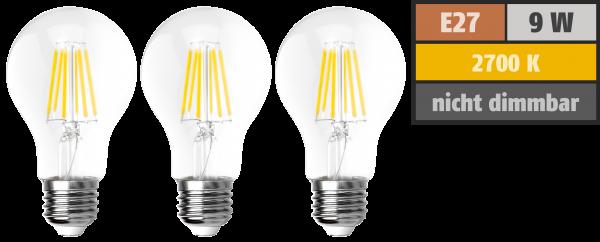 LED Filament Set McShine, 3x GlüŸhlampe, E27, 9W, 1055lm, warmweiß, klar
