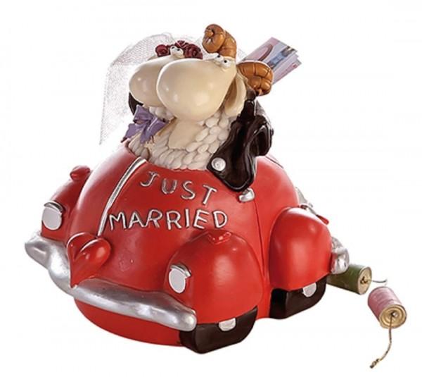 Spardose Brautpaar Polly+Paul Just Married H16,5cm rot handbemalt Sparschwein