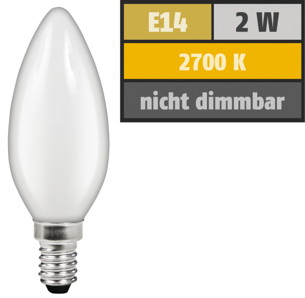 LED Filament Kerzenlampe McShine ''Filed'', E14, 2W, 180 lm, warmweiß, matt