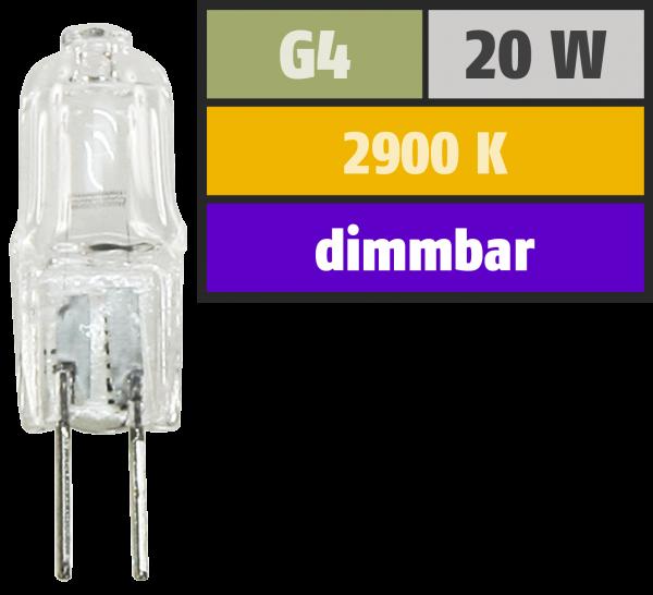 Halogen-Stiftsockellampe McShine, 12V/20W, Sockel G4