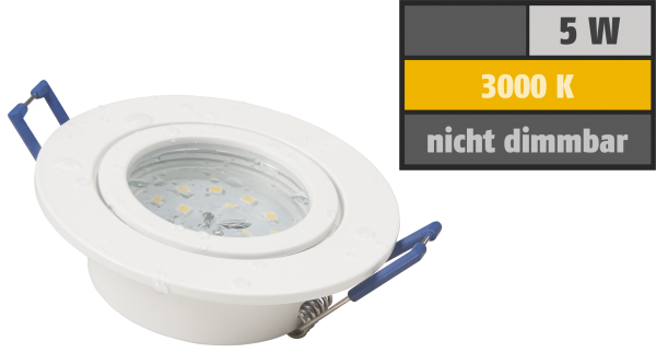 LED-Einbauleuchte McShine ''Flatty'' Ø83mm, 5W, 400lm, warmweiß, IP44