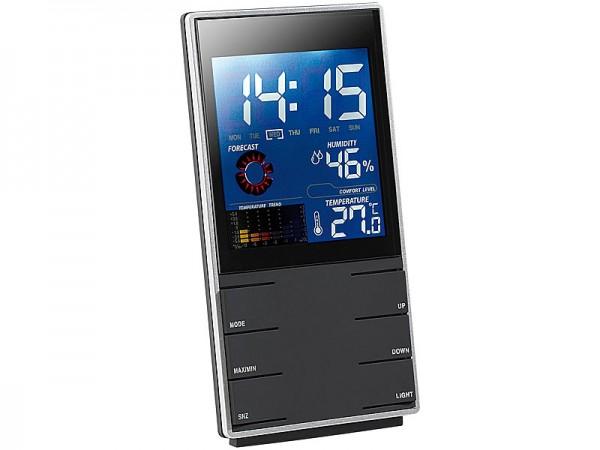 Portable Design-Wetterstation mit Wettervorhersage & Wecker