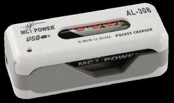 Akku-USB-LadegeräŠt McPower ''AL-308'' fŸür 2x AAA oder AA Akkus