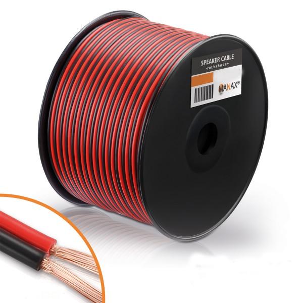 100m 2x4mm² Lautsprecherkabel rot / schwarz Audio Kabel Boxenkabel 100% CCA