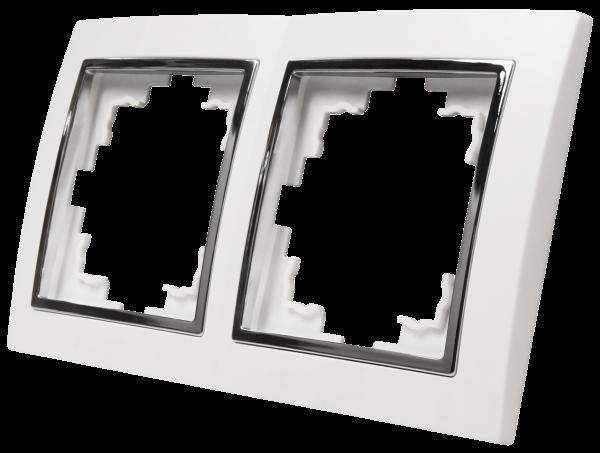 Rahmen McPower ''Flair'' 2-fach, weiß mit silberner Zierleiste