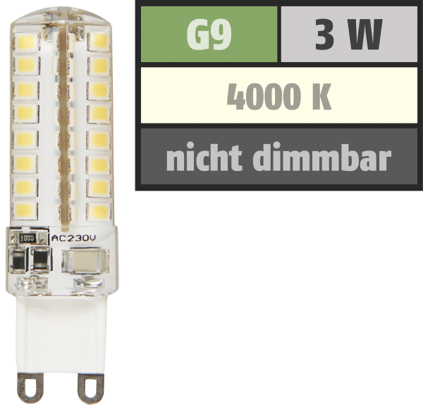 LED-Stiftsockellampe McShine ''Silicia'', G9, 3W, 320 lm, neutralweiß