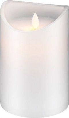 2 Stück LED Echtwachs-Kerze weiß, 7,5x15 cm; Timer-Funktion warmer Kerzenschein