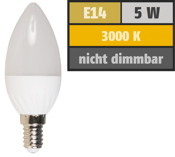 LED Kerzenlampe McShine, E14, 5W, 380 lm, 3000K, warmweiß
