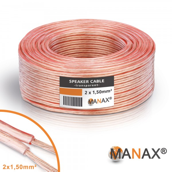 50m 2x1,5mm² Lautsprecherkabel transparent Audio Kabel Boxenkabel 100% CCA