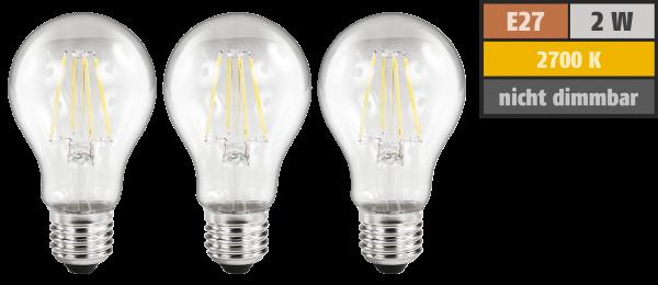 LED Filament Set McShine, 3x GlüŸhlampe, E27, 2W, 200lm, warmweiß, klar