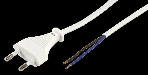 Euro-Netzkabel McPower mit blanken Enden LŠänge 2 m, 2x0,75 mm ², weiß