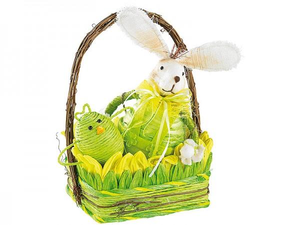 5-teiliges Osterkörbchen mit Hase & 3 Hühnchen
