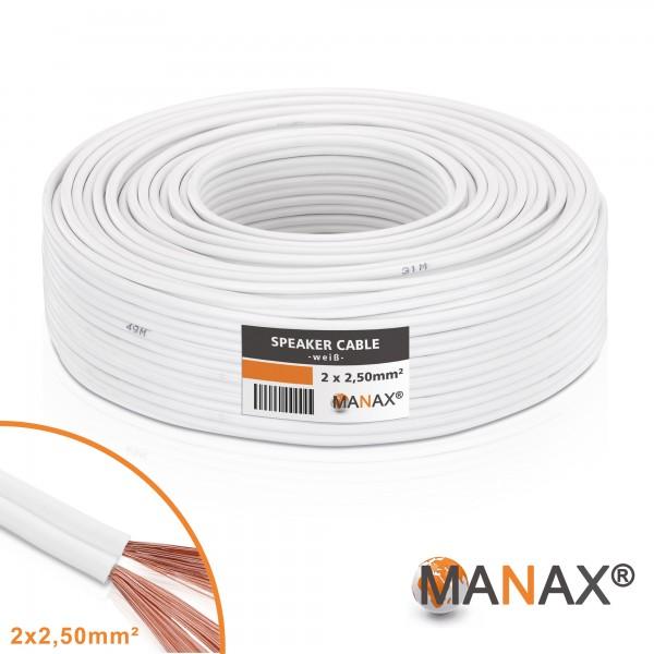 50m Lautsprecherkabel (Single-Wire) 2x2,5mm² CCA weiß Metermarkierung