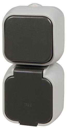 Feuchtraum Steckdose und Wechselschalter, 250V~/16A, IP44, AP, grau/schwarz