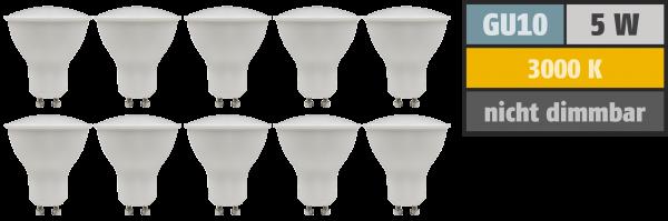 LED-Strahler McShine ''PV-50-10'' GU10, 5W, 400lm, 110°, 3000K,warmweiß, 10er-Pack