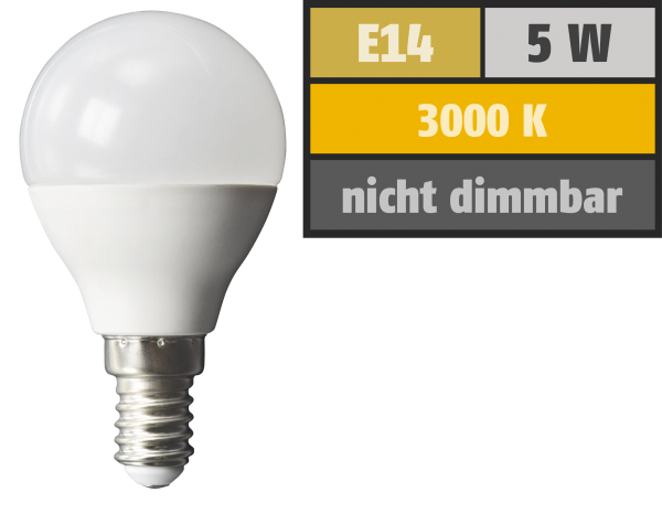 LED-Tropfenlampe McShine, E14, 5W, 380 lm, 3000K, warmweiß