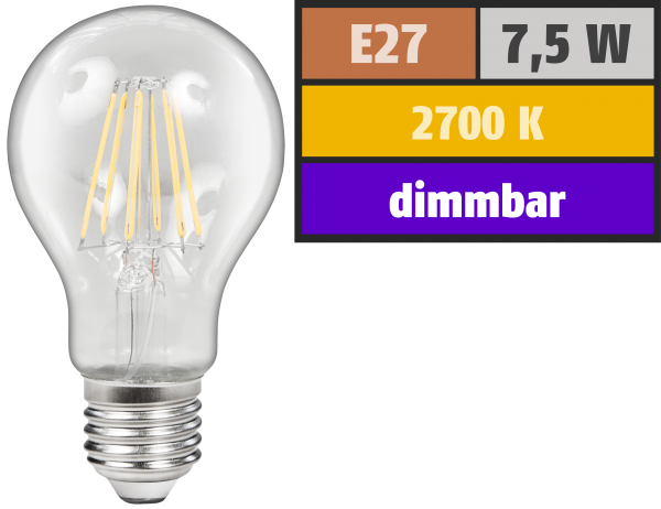 LED Filament GlüŸhlampe McShine ''Filed'', E27, 7,5W, 800 lm, warmweiß, dimmbar, klar