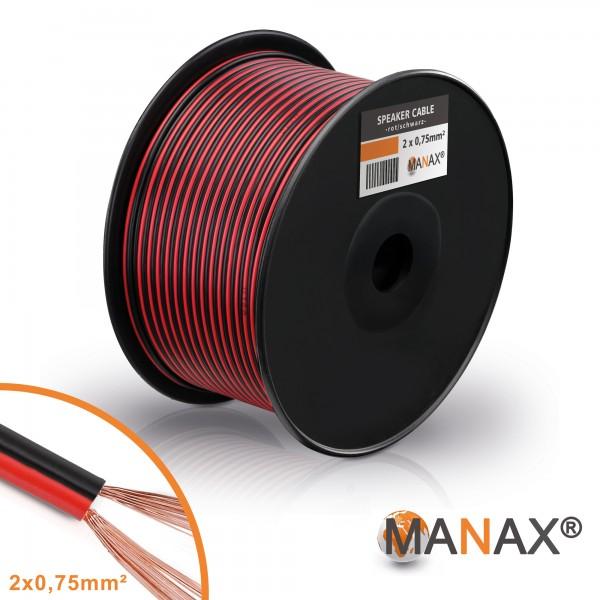 MANAX 100m Lautsprecherkabel 0,75mm² CCA Lautsprecher Boxen Kabel Rot/Schwarz