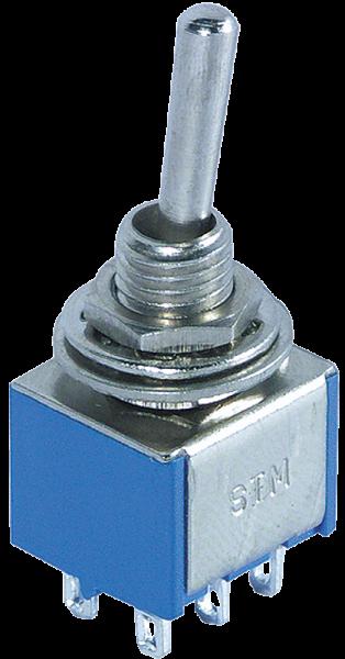 Miniatur-Kippschalter McPower, 250V/3A, 6-polig, 3 Stellungen: EIN / AUS / EIN