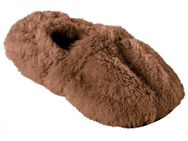 Schuhe Mikrowelle: Aufwärmbare Flausch-Pantoffeln mit Leinsamen-Füllung, Größe 36 - 38