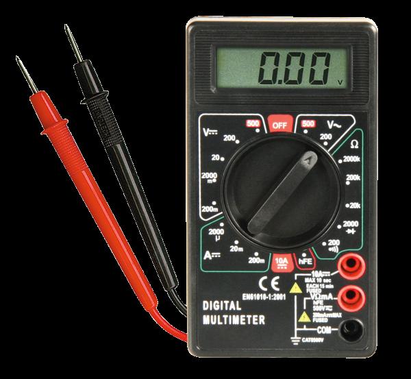 Digitales Multimeter - Digital Messgerät + Messleitungen + Batterien AC / DC V A
