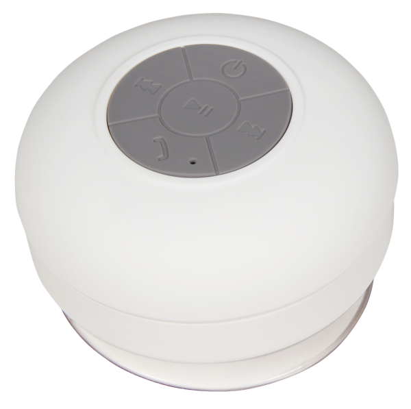 "Bluetooth-Lautsprecher ""SHOWER-W"" ca. 6 Std. Akku Laufzeit, weiß, IPX4"