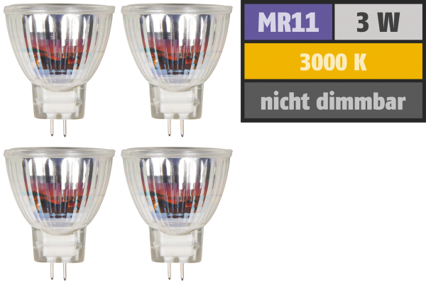 LED-Strahler McShine ''MCOB'' MR11 / G4, 3W, 250lm, warmweiß, 4er-Pack
