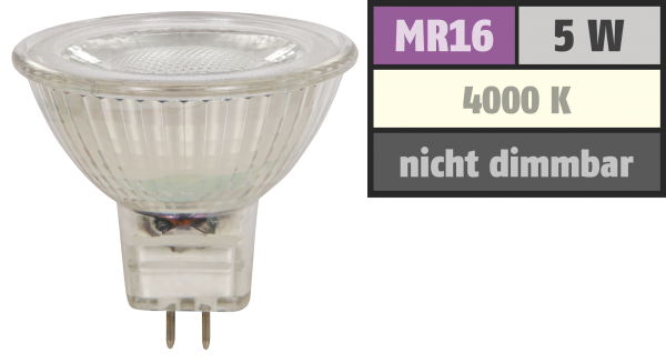 LED-Strahler McShine ''MCOB'' MR16, 5W, 400 lm, neutralweiß