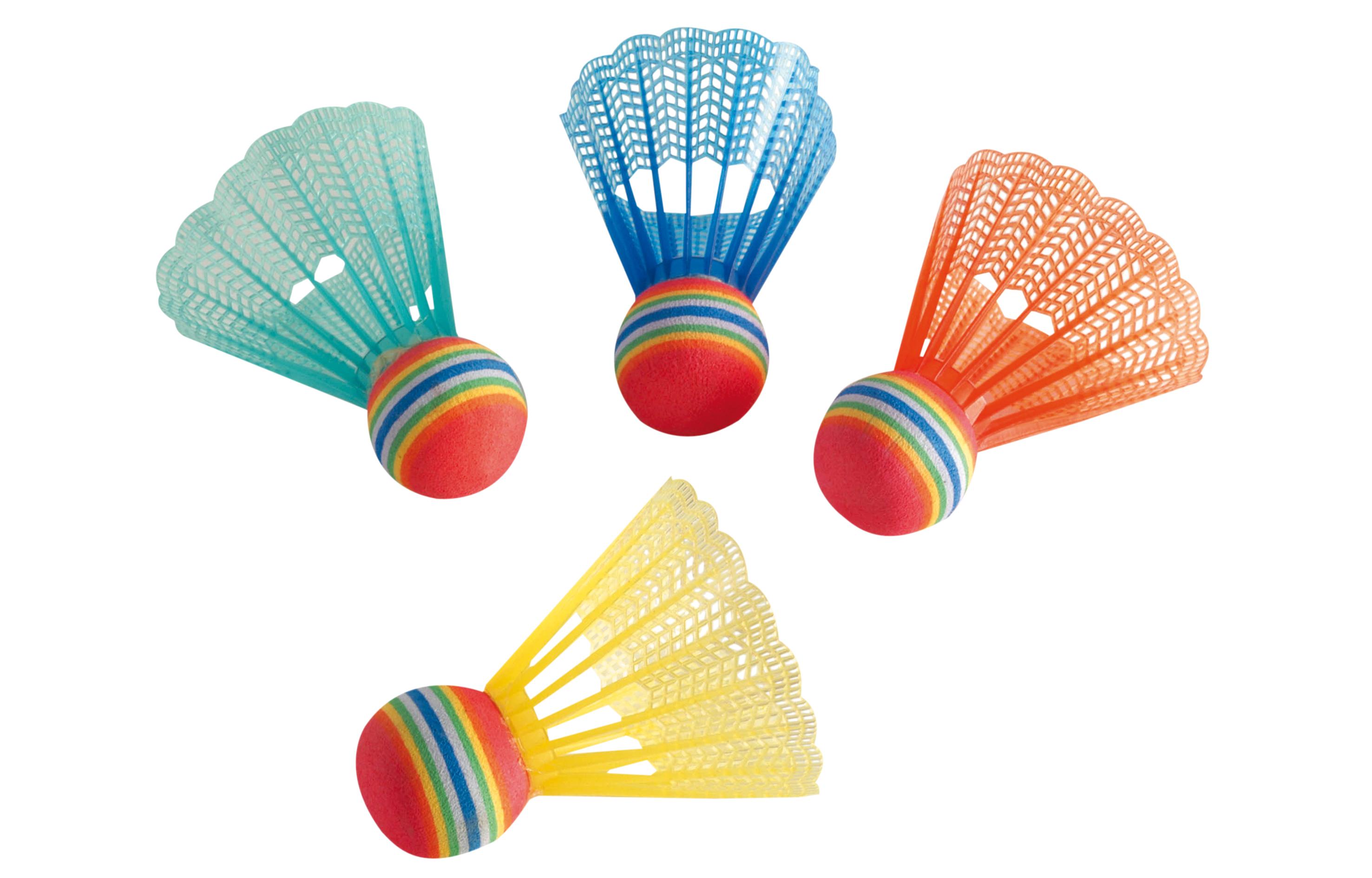 4 Stück Federbälle Fun Hudora 76047 Badminton Sport Freizeit Park Strand Ball Badminton