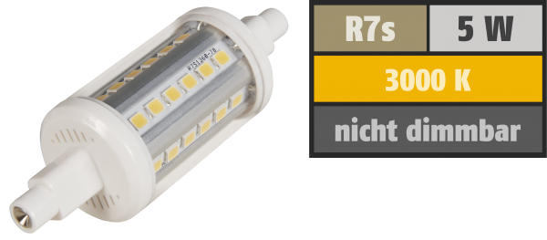 LED-Strahler McShine ''LS-736'', R7s, 5W, 410 lm, 78mm, 360°, warmweiß
