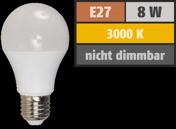 LED GlŸühlampe McShine, E27, 8W, 650lm, 3000K, warmweiß