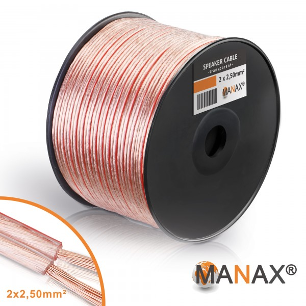 100m Lautsprecherkabel (Single-Wire) 2x2,5mm² CCA Transparent Metermarkierung