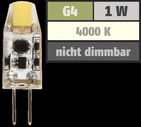 LED-Stiftsockellampe McShine ''Silicia COB'', G4, 1W, 110 lm, weiß