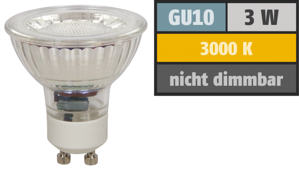 LED-Strahler McShine ''MCOB'' GU10, 3W, 250 lm, warmweiß