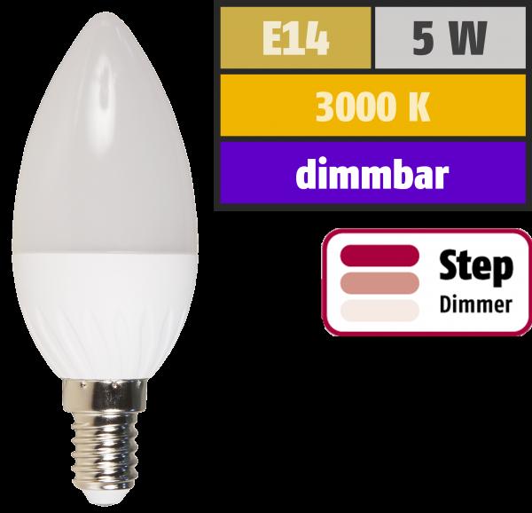 LED-Kerzenlampe McShine, E14, 5W, 400lm, 3000K, warmweiß, dimmbar 100/50/15%