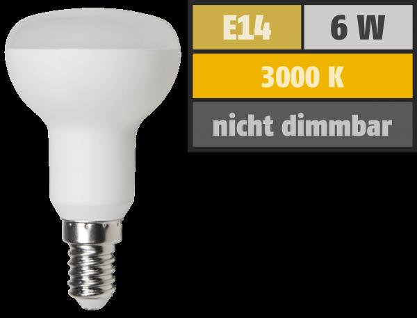 LED-Reflektorstrahler McShine, E14, R50, 6W, 480lm, 3000K, warmweiß