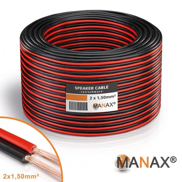 50m 2x1,5mm² Lautsprecherkabel rot / schwarz Audio Kabel Boxenkabel 100% CCA