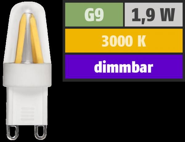 LED-Stiftsockellampe Filament McShine ''Silicia'', G9, 1,9W, 180 lm, warmweiß, dimmbar