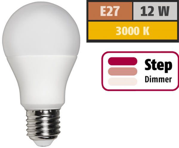 LED GlŸühlampe McShine, E27, 12W, 1.055 lm, 3000K, warmweiß, step dimmbar 100/50/10%