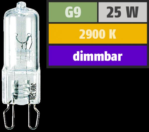 Halogen-Stiftsockellampe McShine, 230V / 25W, Sockel G9, 2.000h, klar