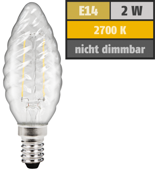 LED Filament Kerzenlampe gedreht McShine ''Filed'', E14, 2W, 200 lm, warmweiß, klar