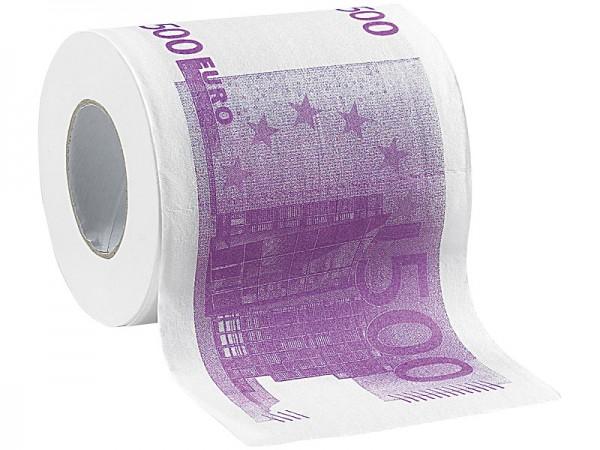infactory Klopapier: Toilettenpapier mit aufgedruckten 500-Euro-Noten, 2-lagig, 3x 200 Blatt
