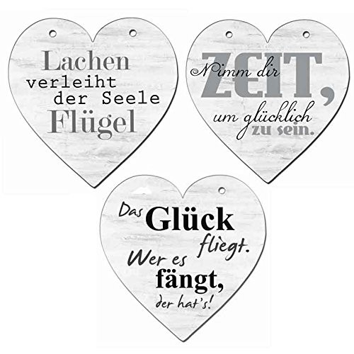"""3 Deko Hänger Herz """"Sprüche"""" Stillvolle Schlicht Vintage Stil Glück Zeit Lachen"""